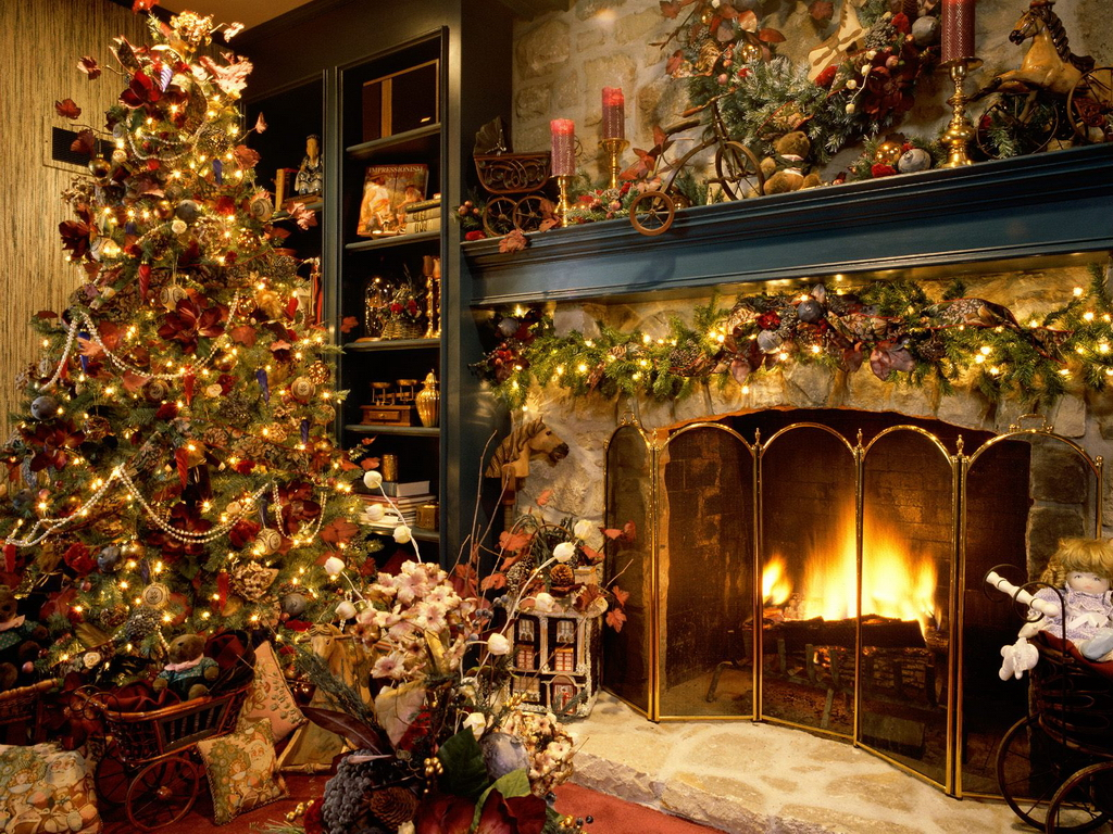 Christmas living room christmas wallpaper for Christmas ideas for living room
