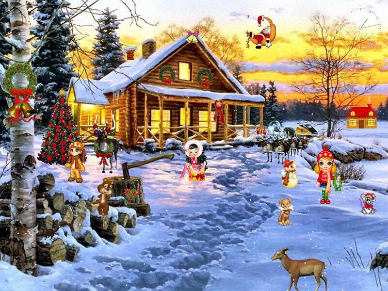 Christmas Scene Screensaver Wallpaper